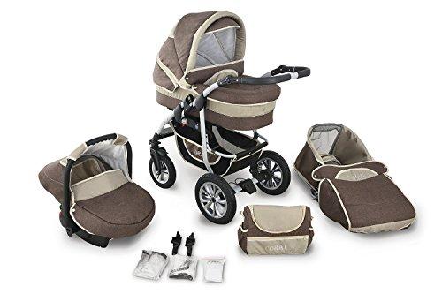 Clamaro 'CORAL 2019' Kinderwagen 3in1 Kombi System mit Babywanne, Sport Buggy und 0+ (0-13 kg) Auto Babyschale, Luftreifen, Federung, Schwenkräder und EASY-STOP Bremse - 23. Leinen Braun Cappuccino