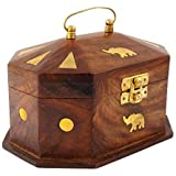 Itos365 Handmade Wooden Jewellery Box for Women Jewel Organizer Elephant Decor, 6 Inches