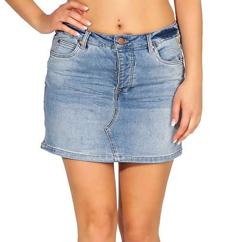 Eight2Nine Damen Jeans Rock LETN-034 Minirock 5-Pocket-Format Middle Blue/Design 01 S