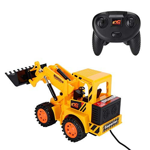 OCDAY Remote Control Car, 5CH 4 Wheel Vehicle, Kid's Toy Electric Wired Control Truck Built-in LED Light for Children's Gift (Forklift)