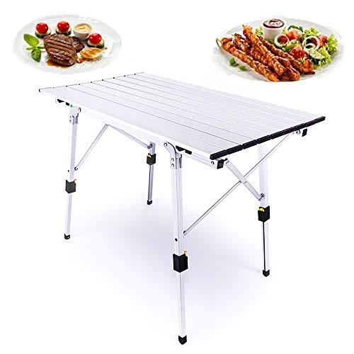 Skyout Mesa de Camping Plegable Outdoor, 90x53x45cm de Aluminio Plegable portátil como si Fuera un maletín Altura Regulable, para pícnic Camping (3 Colores)