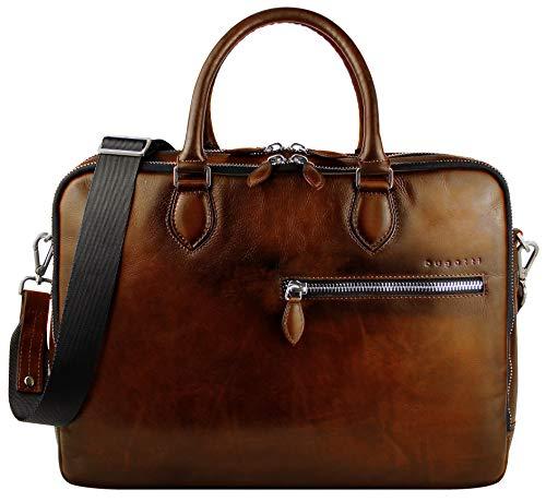 """Bugatti Domus Businesstasche für Damen und Herren mit 15"""" Laptopfach, Arbeitstasche Aktentasche Große Bürotasche, Cognac"""