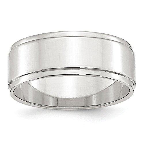 Sterling-Silber, 8 mm, flach, mit Trittstufe Rand Größe U 1/2-JewelryWeb Ring