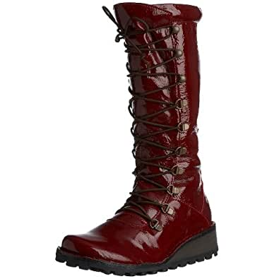 Fly London Women's Maos Boot Leather Patent Red P210389030 6 UK
