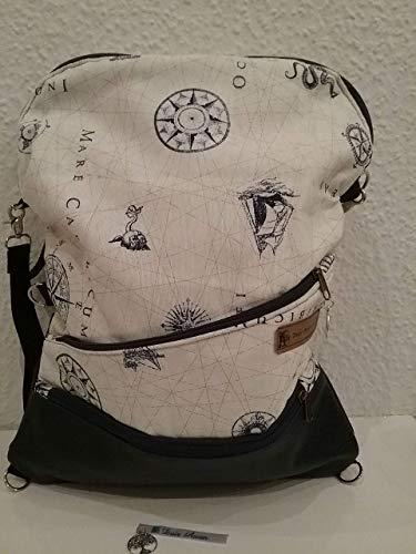 Multibag Damen Rucksack Schule Lässiger Rucksack 3 in 1 als Rucksack, Tasche, Shopper und Clutch, Große Kapazität, mehrere Taschen - Mode für Arbeit Schule und Reise - Unikat