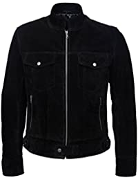1345 New Men's SUEDE 1960's Classic TRUCKER Denim Style Real Western Leather Jacket