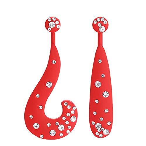 Z&HA Women es Long Fashion Red Asymmetric Letter HO Ohrringe, Inlaid Kristall-Diamant-Schmuck für Fotografie/Street Beat/Modell/Laufsteg,Red - Chanel Diamant