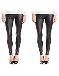 Timbre Women's Black Skinny Fit PU Leather Legging Pack Of 2
