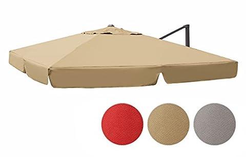 Sekey Sonnenschirm/Marktschirm/Gartenschirm/Terrassenschirm/Ampelschirm/Kurbelschirm Bespannung ink. Air Vent für interpara Sonnenschirm (3 x 3m / ),beige,Quadratisch,UV50+