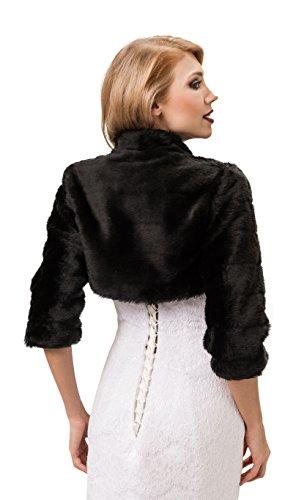 Hochzeitsjacke Bolero Jacke aus kunstlichem Pelz 3/4 langer arm, volles futter Schwarz