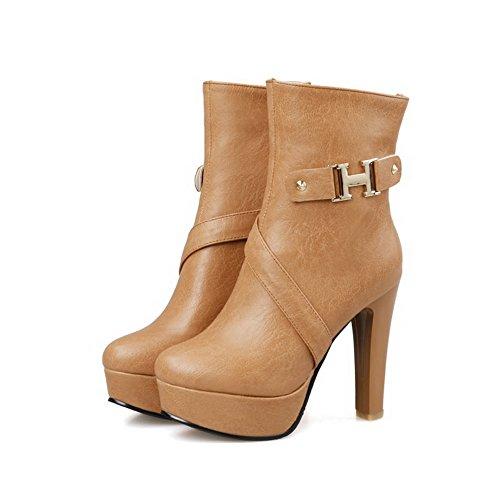 AgooLar Damen Niedrig-Spitze Reißverschluss Blend-Materialien Hoher Absatz Stiefel Gelb