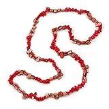 Avalaya - Elegante Collana con pepite di Conchiglia di Conchiglie Rosse semipreziose, Lunghezza 84 cm