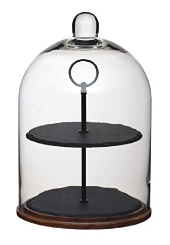 KitchenCraft MasterClass Artesà 2-Tier Serving Stand / Cake Dome, 22 x 31.5 cm