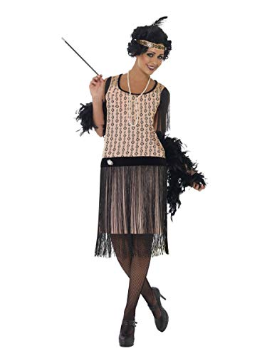 Damen Sexy 1920s Jahre 1930s Jahre Coco Flapper inklusive Zigarettenspitze & Halskette! Gatsby Jahrzehnte Party Kostüm Kleid Outfit - Beige, 16-18