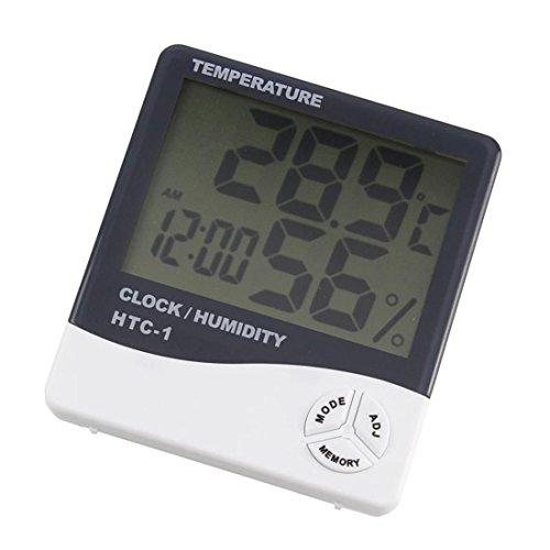 Anudx Zone Medidor Digital de la Temperatura y de la Humedad de HTC-1 con el higrómetro del Despertador...