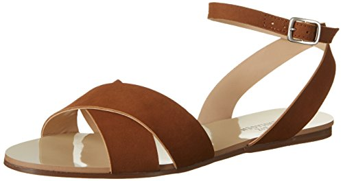 Shoe Biz Flat, Sandali con Zeppa Donna Marrone (Nubuk Cognac)