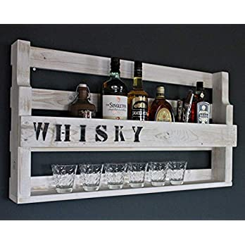 Holz Whisky Regal mit Gläserhalter und Schriftzug-fertig montiert Shabby-Weiß Industrie Styl