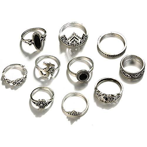 XZANTE 10 Teile/Satz B?hmen Antike Silber Stern Mond Blume Geschnitzte Ringe Sets Opal Stein Knuckle Ringe Für Frauen Schmuck (Silber - Ringe Oben Für Knuckle Silber