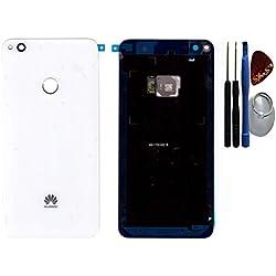 Cache batterie, arrière, cache batterie, cache arrière pour Huawei P8 Lite (2017) blanc / capteur/ film adhésif / d'outils