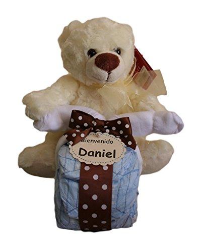 Moto de pañales en color beige, tarta de pañales original ideal como regalo para bebé