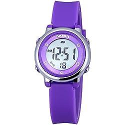 Zeiger Kinderuhr Digital Sportlich Jungen Mädchen Uhr Armbanduhr Datum Wecker 6-Farbe Licht KW027