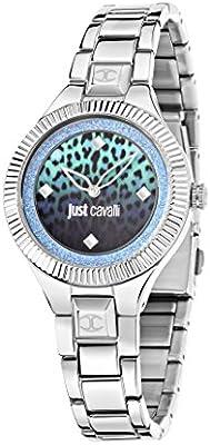 Just Cavalli Just Indie Reloj de cuarzo para mujer con Multicolor Esfera Analógica Pantalla y Correa de Acero Inoxidable Plateado r7253215505