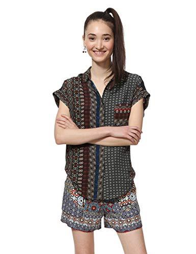 Desigual Damen Shirt Short Sleeve Azhar Woman Brown Hemd, Braun (Chocolate 6009), Medium