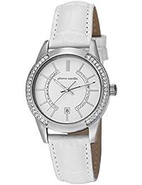Pierre Cardin TROCA LADY Damenuhr Edelstahl Silber Lederband Weiß PC106582F01