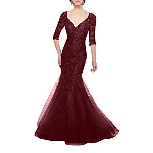 Charmant Damen Glamour Spitze Langarm V-ausschnitt Meerjungfrau Abendkleider Ballkleider brautmuttermode Lang-36 Burgundy