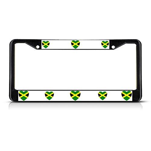 Love Herz Jamaika Land Flagge Schwarz Metall Nummernschild Rahmen Tag Bordüre