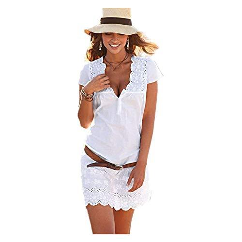 Kleider Kleidung Damen Day.LIN Frauen Sommer V-Ausschnitt Spitze Kurzarm-Kleid Kurzarm-Kleid mit V-Ausschnitt aus Spitze (X L=EUL) -