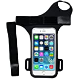 """iPhone 7 / 6 / 6S Water Resistant Armband,Cymall Forearm Band, Wristband Wrist Bag for Cycling Running Gym Jogging Exercise Sports, with key holder and card pouch,for 4.7""""- 5.5"""" Cell Phone (Black Strap, 5.5-inch)"""