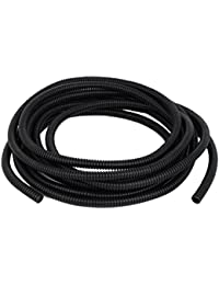 ELECTROPRIME 16Ft Length 8mm X 10mm Wire Hose Cover Conduit Corrugated Tubing Tube Black