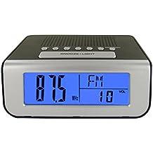 Radio despertador números grandes reloj LCD Retro eclairé azul–Gráfico de la hora, la temperatura y la fecha–Gráfico de la hora y la frecuencia FM–2Alarmas: Radio FM y zumbador