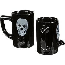 OOTB De porcelana, con pipa de agua, negro, 10.7x 12.5x 12.3cm