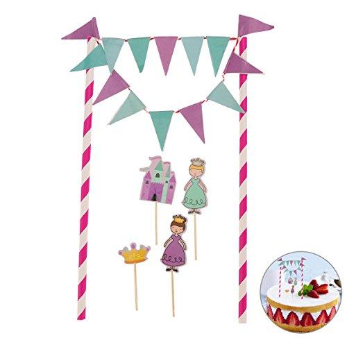 Tinksky Prinzessin Castle Cake Bunting Toppers Flagge Banner Picks Wrap Dekorieren Kit für Kinder Kinder Geburtstage Gefälligkeiten Supplies