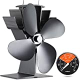 [ 2 Anni ] Ventola Termica Per Stufa a Legna/Pellet/Gas, 4 Lama Risparmio Energetico Ventilatore per Camino a Legna,Basso Consumo Accessori per Caminetti + Termometro per Stufa