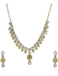 Fasherati Goldene Perlen mit weißem Kundan Hochzeit Set für Frauen