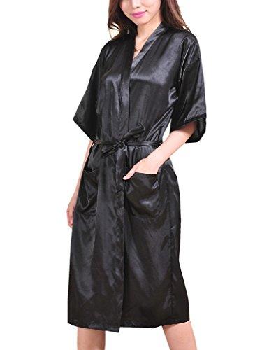 Surenow Kimono Lungo per Donna Raso Serico Kimono Accappatoio
