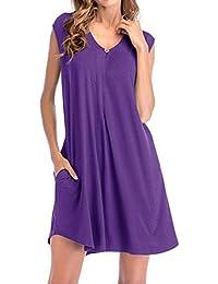 Mini vestido sin mangas para mujer – Saihui verano Casual V cuello largo camiseta Túnica bolsillos