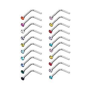 20 Stück L Förmig Nasen Stud 20 Gauge Edelstahl Nasenpiercing Stud L Gebogen Ring für Körper Schmuck, Verschiedene Farben