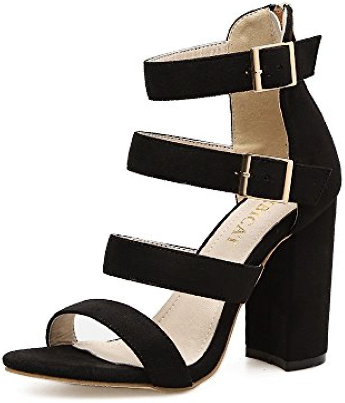 ZHZNVX Elegante Satén Grueso con Zapatos de Tacón Sandalias de Hebilla Chica de Rocío y Sandalias, Negro,36 -