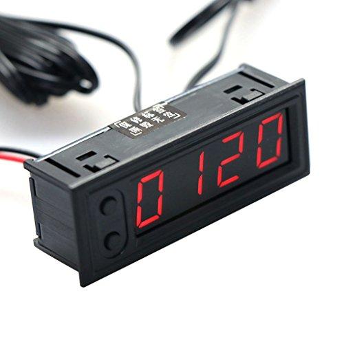 xurgm 3in 1auto batteria Monitor voltmetro, Termometro, Tempo, DC 12V voltmetro digitale tensione/orologio/temperatura Display, Nero