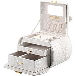 Finether-Joyero Bloqueable(Caja para joyas,Estuche Arqueado para Guardar Joyas, Pendientes, Anillos, Collares, Espejo y Cajones, Textura de Cuero de Cocodrilo, Tapa Elevable)Blanco