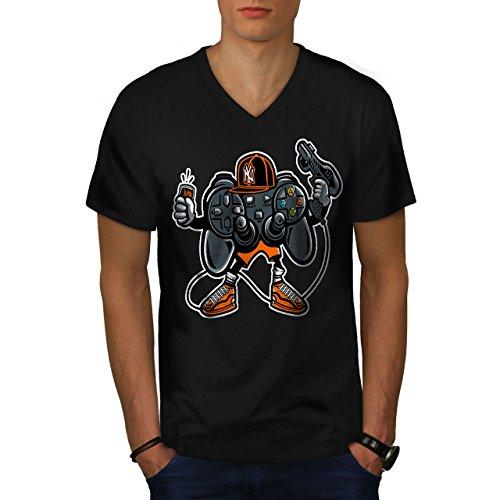 wellcoda Cool Joystick Nerd Gaming Männer 2XL V-Ausschnitt T-Shirt