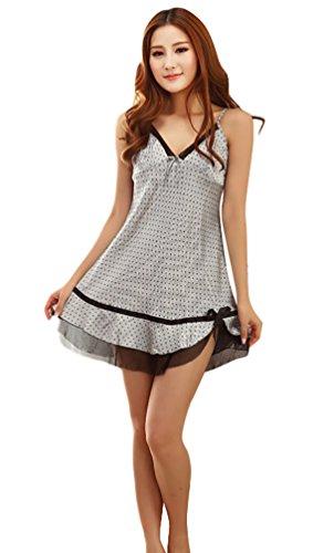 NiSeng femmes pyjama satin robe de chambre d été chemise de nuit conception point Blanc