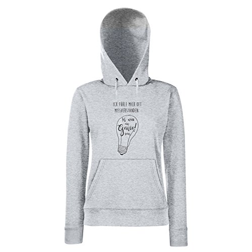Damen Hoodie - Ich muss ein Genie sein! - von SHIRT DEPARTMENT fuchsia-schwarz