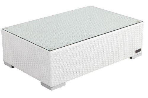 Outflexx Café Table en polyrotin avec plaque en verre, 95 x 65 cm en blanc