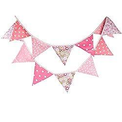 Milopon Wimpel Girlande Wimpelkette Doppelseitige Banner Dekoration mini Flagge für Baby Geburtstag Kinderzimmer Hochzeit rosa