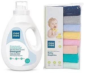 Mee Mee Mild Baby Liquid Laundry Detergent, 1.5L & Absorbent Baby Napkins, Multicolor (Pack of 8) Combo